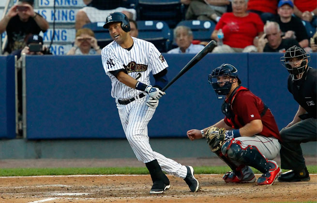 Playing DH, Derek Jeter got his first hit Sunday since beginning rehab in the minors.