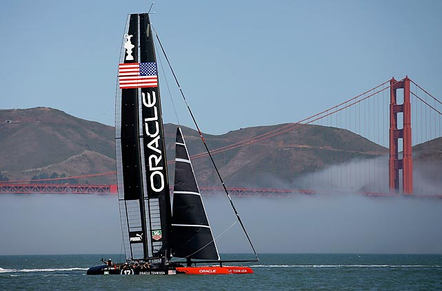 Oracle Team USA sails near the Golden Gate Bridge during a training session on July 1 in San Francisco. The opening ceremony for the America's Cup was July 4, and the finals begin on Sept. 7.
