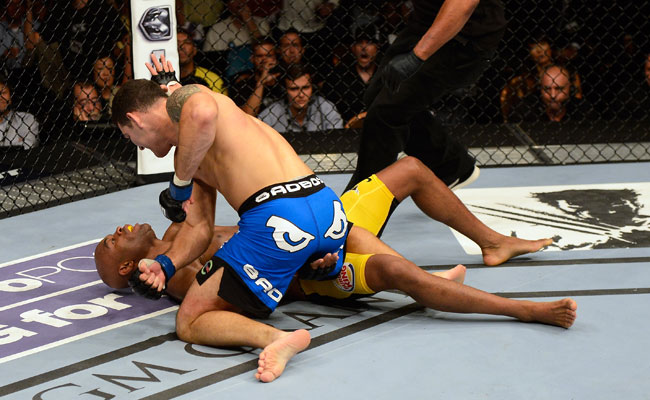 Chris Weidman earned a TKO victory over Anderson Silva in the second round of their UFC 162 fight.