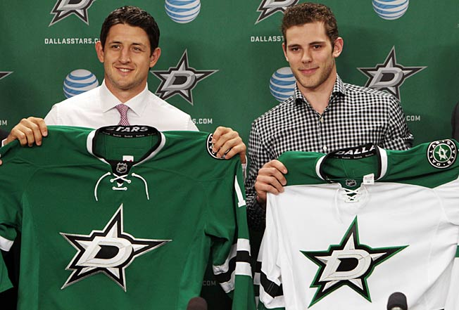 Tuesday's intro was a little easier for Shawn Horcoff (left) than it was for Tyler Seguin.