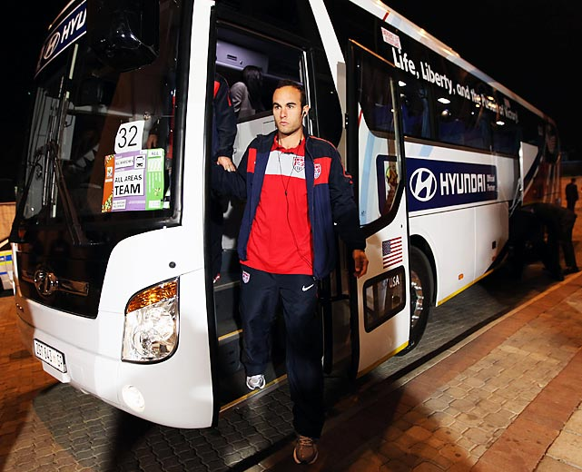 Donovan arrives for the Round of 16 World Cup match against Ghana at Royal Bafokeng Stadium in Rustenburg, South Africa. The U.S. would go on to lose 2-1 in overtime.