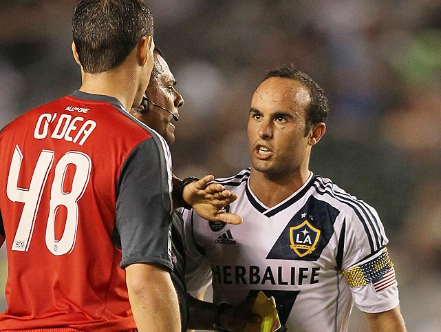 Referee Silvia Reyes gets between Donovan and Toronto FC's Darren O'Dea after O'Dea tripped Donovan during an MLS match. The LA Galaxy defeated Toronto 4-2.