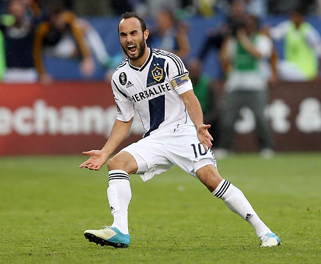 Donovan reacts after scoring on a penalty kick in the second half against the Houston Dynamo in the 2012 MLS Cup. The Los Angeles Galaxy won 3-1.