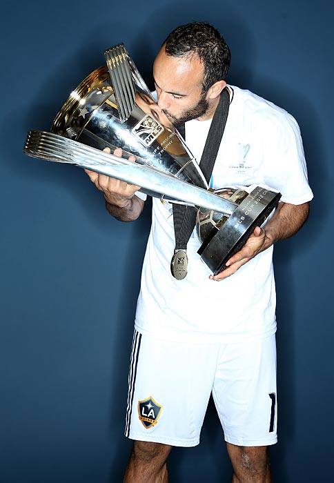 Donovan kisses the MLS Cup after winning the 2012 title against the Houston Dynamo at The Home Depot Center in Carson, Calif.