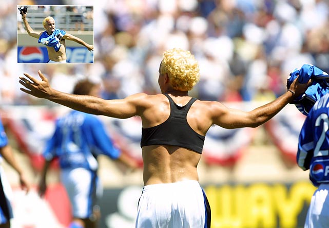 To honor U.S. Women's National Team member Brandi Chastain -- who famously took off her shirt after winning the 1999 World Cup on a penalty kick -- Donovan pulled off his jersey to reveal a sports bra after he scored during the MLS All-Star Game in San Jose.