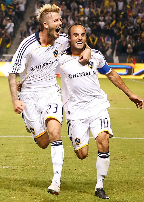 David Beckham and Donovan celebrate the latter's goal against the Houston Dynamo during the 2009 MLS Western Conference Championship game at The Home Depot Center in Carson, Calif. The Galaxy won 2-0.