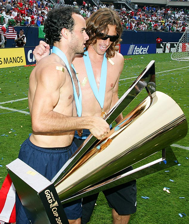 Frankie Hejduk and Donovan parade around the field with the Gold Cup after the U.S. defeated Mexico in the final of the 2007 CONCACAF at sold out Soldier Field in Chicago.