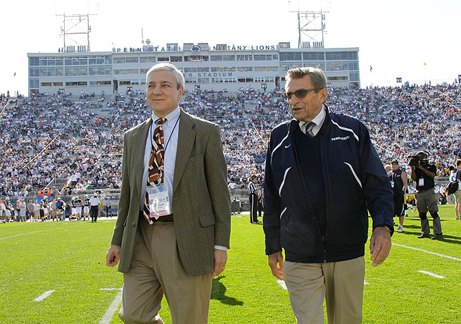 Graham Spanier (left) and then-coach Joe Paterno were both embroiled in the Jerry Sandusky scandal.