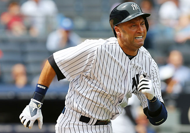 Derek Jeter strained his quadriceps during his first game of the season on Thursday.