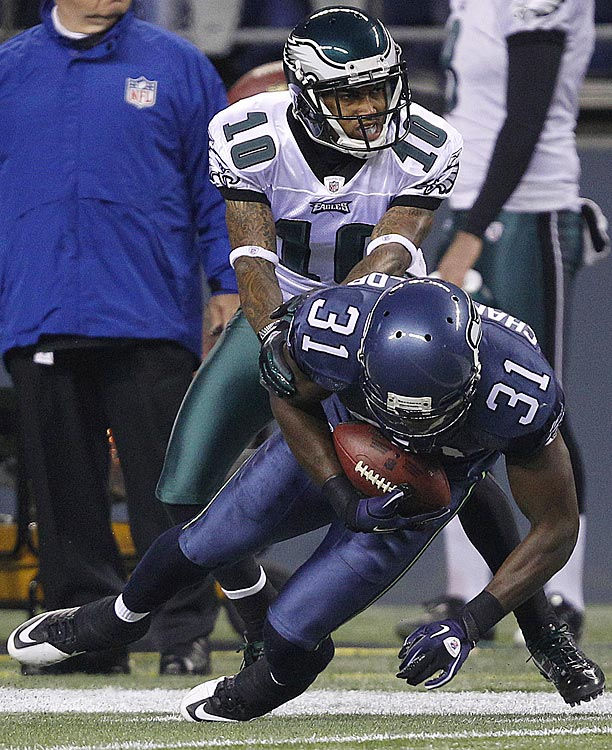 "DeSean Jackson's infamous ""Bruh, I am not answering those questions"" video was born from the Eagles-Seahawks Thursday night game on his 25th birthday. On a night when he caught four passes for 34 yards, and watched Kam Chancellor intercept this pass, Jackson was quizzed postgame on whether he and quarterback Vince Young had a sideline spat during the loss. Upset with the line of questioning, Jackson eventually turned his back on the media."