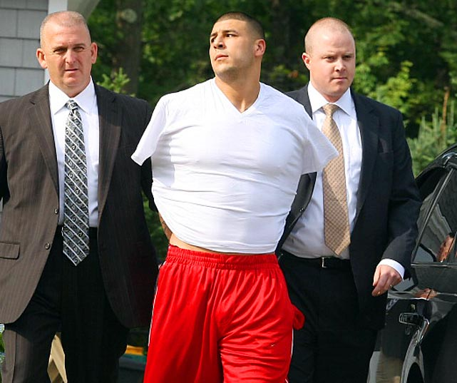 Aaron Hernandez was arrested at his home in Massachusetts and charged with the murder of semi-professional football player Odin Lloyd. The Patriots released Hernandez shortly after his arrest.
