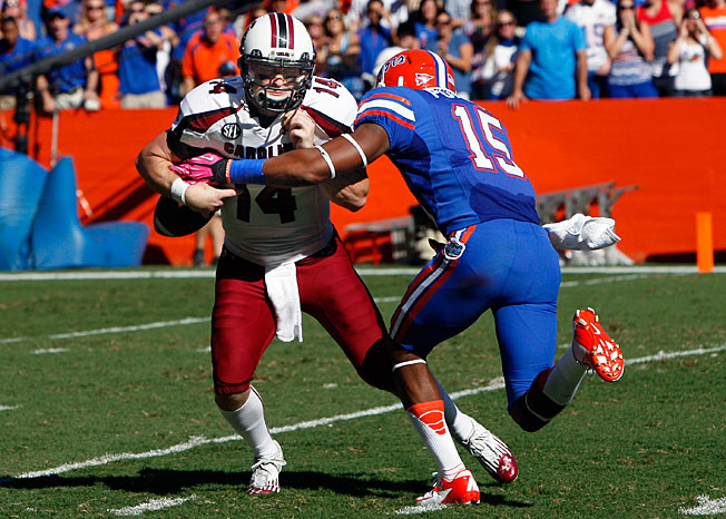 Florida's Loucheiz Purifoy (15) has shown the ability to star as both a cornerback and a wide receiver.