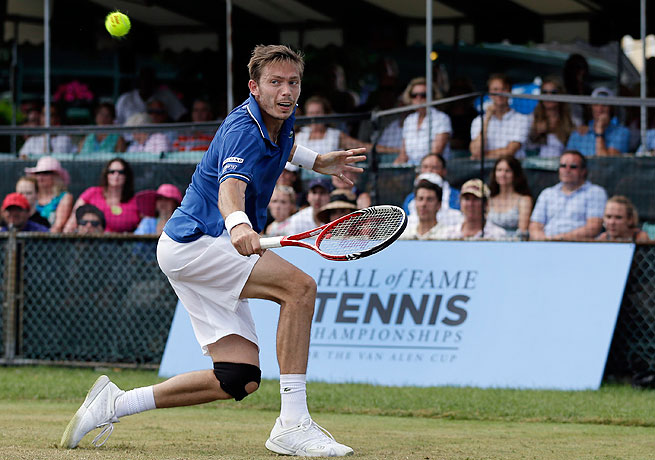 Nicolas Mahut won his second career ATP title in two months by beating Lleyton Hewitt in Newport.