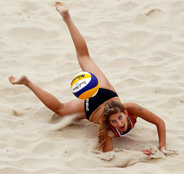Tiadora Miric of Canada makes a diving attempt for the ball during the FIVB Beach Volleyball U19 World Championships in Portugal.