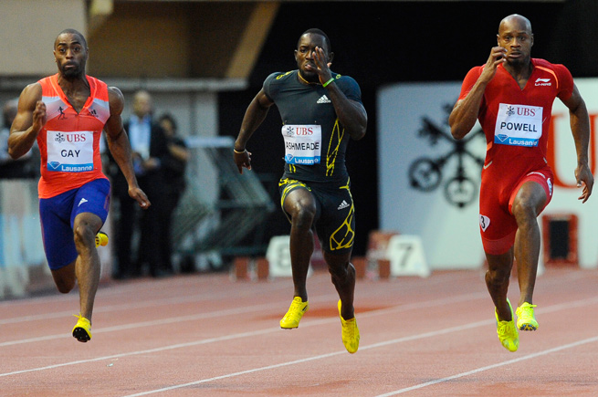 Asafa Powell (right) tested positive for oxilofrine at the Jamaican championships last month.