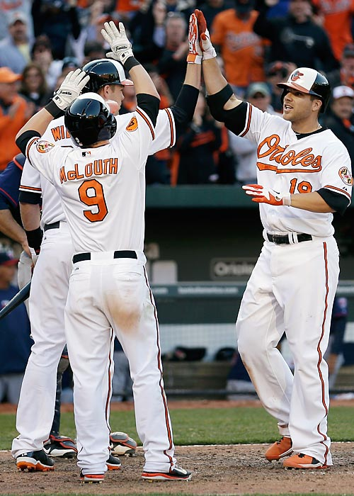 Chris Davis entered the All-Star break with 37 home runs, on a pace for 62. That may have been unexpected, but it didn't sneak up on anybody. Davis tied a record by hitting four home runs in the Orioles' first four games of the season, the last a tie-breaking grand slam in the bottom of the eighth inning off the Twins' Tyler Robertson on April 5. That slam gave Davis 16 RBIs in those first four games, which set a record.