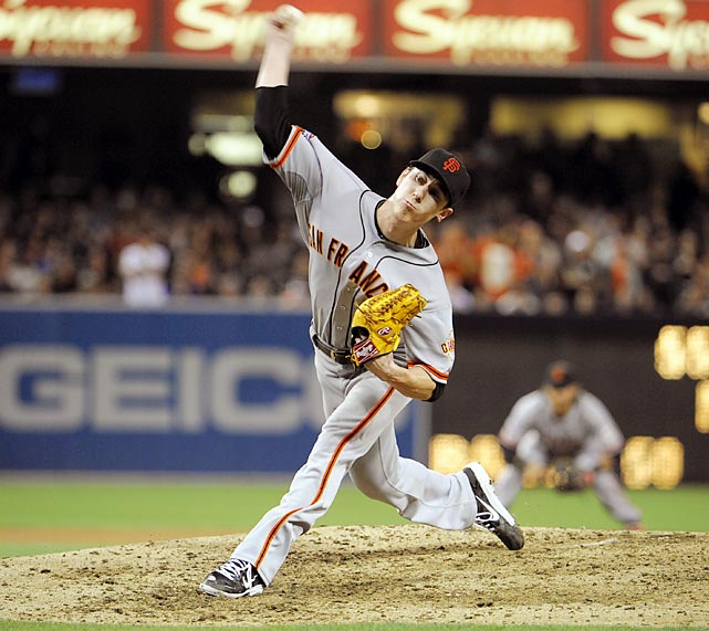 The opposing pitcher in Bailey's no-hitter was Lincecum, whose 2012 struggles continued into the 2013 season. That made it all the more intriguing when Lincecum took a no-hitter into the late innings of the Giants' July 13 game against the Padres. Using a devastating mix of offspeed pitches to obtain a career-best 29 swings and misses, Lincecum used up a lot of pitches early, but just kept going until he got Yonder Alonso to fly out to left on his 148th pitch, the most thrown by any pitcher since Edwin Jackson's no-hitter in 2010. Lincecum's no-hitter was the first of his career and the first in the history of pitching-friendly Petco Park.
