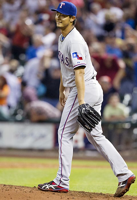 It took three months for the 2013 season to produce its first no-hitter, but many pitchers came close. There were five one-hitters in the season's first two months. Not among those was one of the season's most dominating performances, Yu Darvish's outing against the Astros on April 2, in the Rangers' second game of the season. Darvish retired the first 26 Houston hitters he faced that night, striking out 14 of them, before shortstop Marwin Gonzalez poked a single through Darvish's legs to break up the perfect game and end Darvish's night. The Rangers righty became the 11th man ever to lose a perfect game with one out to go. The Astros picked up a second hit after Darvish departed and lost 7-0.