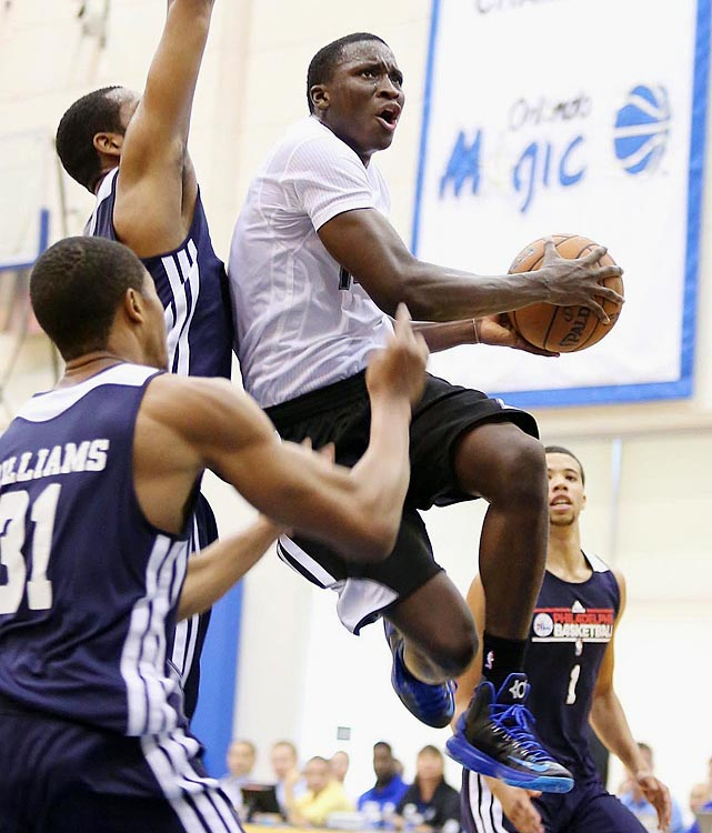 Players drafted in June immediately hit the court in July for NBA summer-league action in both Orlando and Las Vegas. Here's a look at some 2013 first-round picks in action, beginning with the No. 2 pick, Oladipo, who averaged 19 points (on 37.5 percent shooting), 4.3 rebounds, 5.0 assists, 3.0 steals and 4.8 turnovers in four games in Orlando.