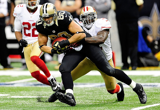 Jimmy Graham, now arguably the NFL's top tight end, had 85 receptions for 982 yards in 2012.
