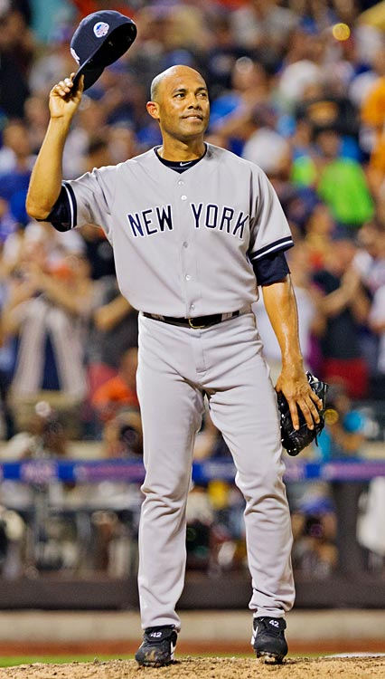 Mariano Rivera acknowledges fans and teammates as he took the mound for his final All-Star game. Rivera threw 16 pitches in a scoreless eighth inning and was voted MVP.