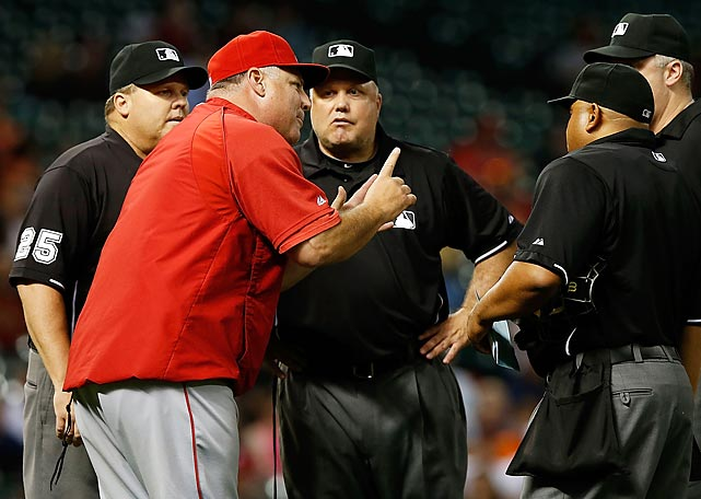 The next night in Houston, the Astros were allowed to make an illegal pitching change that sent Angels manager Mike Scioscia into a rage. Neither call was overturned but MLB admitted both calls were incorrect, and the umpiring crew from the latter game was fined while crew chief Fieldin Culbreth was suspended for two games.