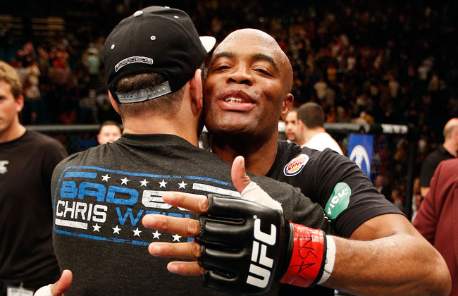 Anderson Silva congratulates Chris Weidman after the Brazilian champion was dethroned at UFC 162.