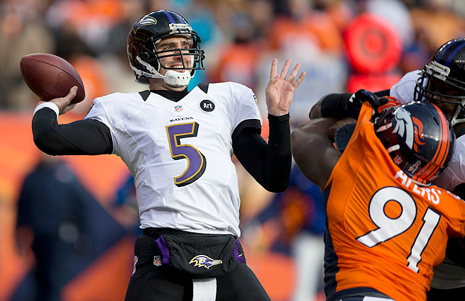 Joe Flacco (top) and the Ravens will have to find someone to replace the departed Anquan Boldin.