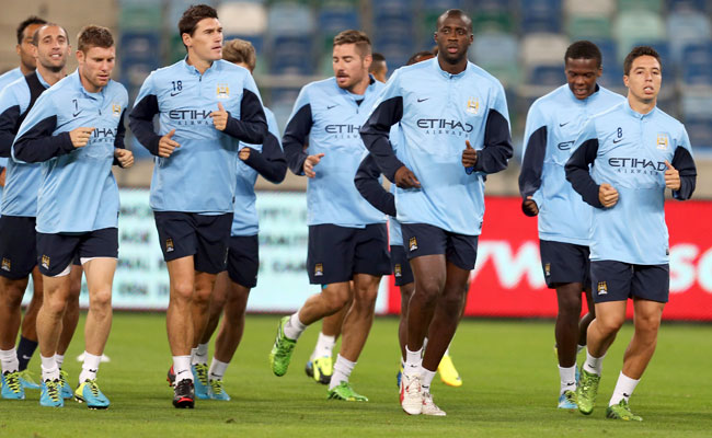 Manchester City players practice in Durban during their summer tour of South Africa.