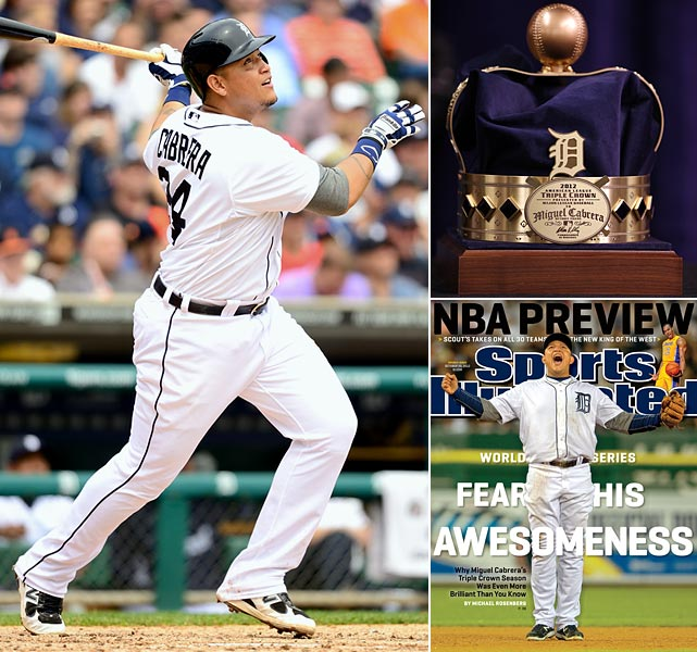 At the 2013 All-Star break, Cabrera led the American League (and all of MLB) in two of the three categories necessary to win the triple crown, Batting Average (.365) and Runs Batted In (95), trailing just Chris Davis in Home Runs by seven. Cabrera is on pace to have a season that would dwarf his MVP campaign a year ago, regardless of whether or not he's able to pass Baltimore's Davis to win the Triple Crown again.
