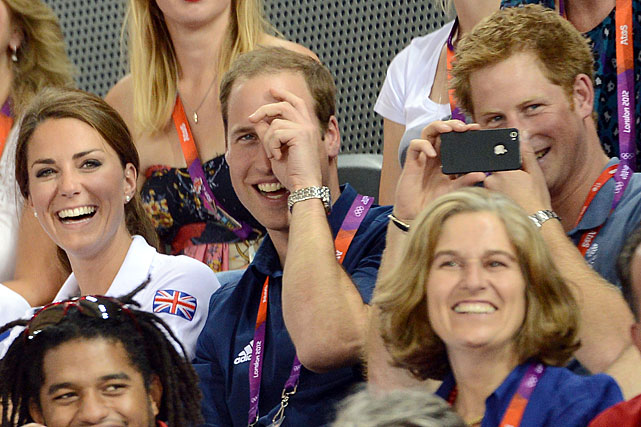 Kate Middleton, Prince William and Prince Harry attend the Men's Team Sprint Cycling event at the 2012 Olympics in London.