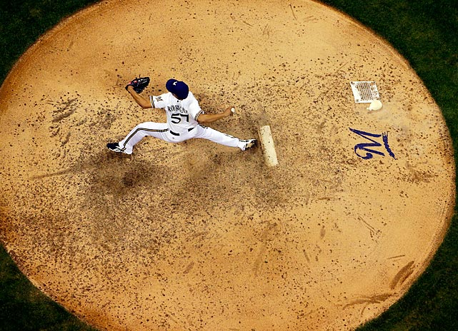 Milwaukee Brewers reliever Francisco Rodriguez pitches during the ninth inning vs. the Miami Marlins on July 19. Rodriguez earned the save in a 2-0 Brewers win.
