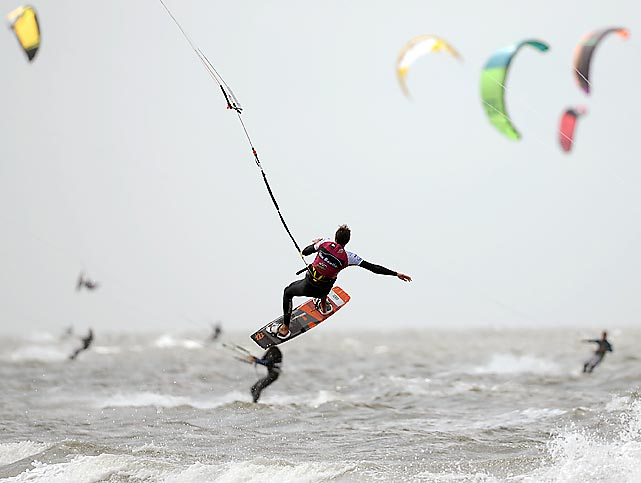 A man trains on July 19 during the Kite Surfing World Cup in St. peter-Ording, Germany.