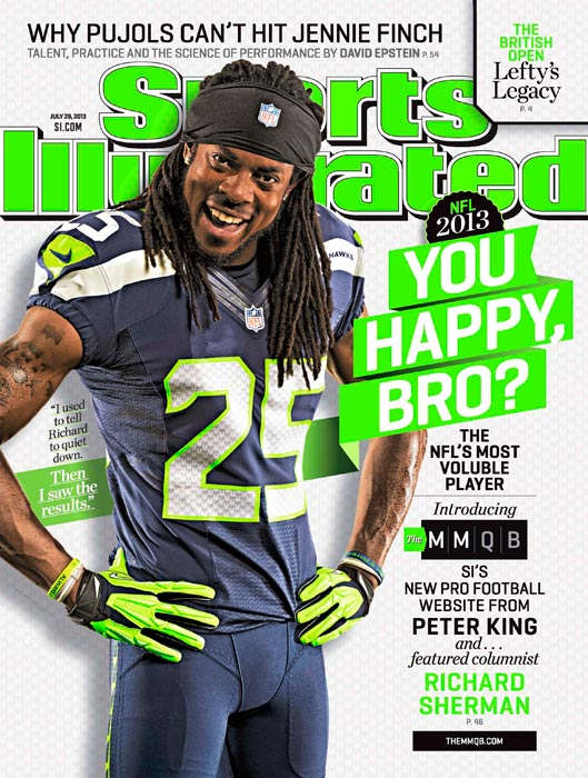 Seahawks cornerback Richard Sherman, second in the NFL in 2012 with eight interceptions, is well-known for his trash talk, but in this week's issue of SI, Lee Jenkins chronicles the antics, brains, and skill of the featured columnist of The MMQB.
