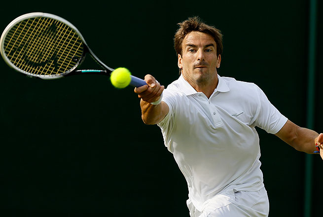 Tommy Robredo, seen here at Wimbledon in June, defeated Jan Halek to reach the next round in Umag.