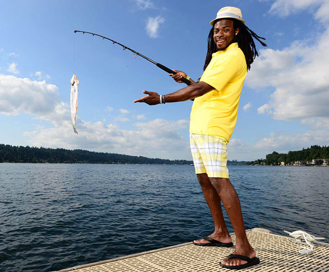 "In this week's issue of <italics>Sports Illustrated</italics>, Seahawks cornerback Richard Sherman appears in a piece entitled ""Warning: Don't Take the Bait"" Here's a look at other notable athletes fishing."