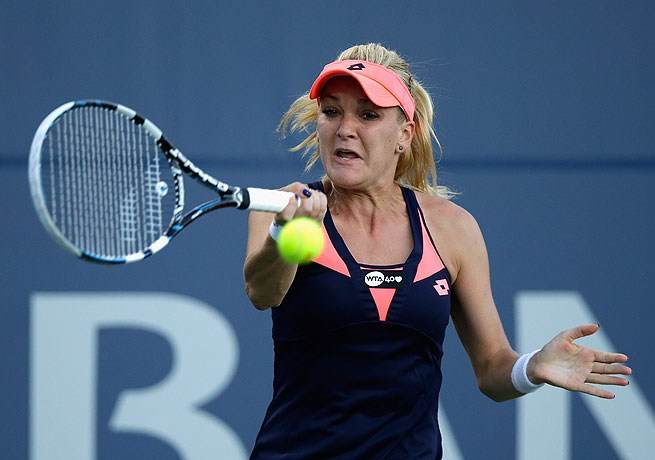 Agnieszka Radwanska dispatched Francesca Schiavone in straight sets at the Bank of the West Classic.