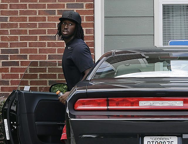 Atlanta Falcons defensive back and first round draft pick Desmond Trufant arrives for training camp in Flowery Branch, Ga. Trufant signed his contract with the Falcons shortly before reporting to camp.