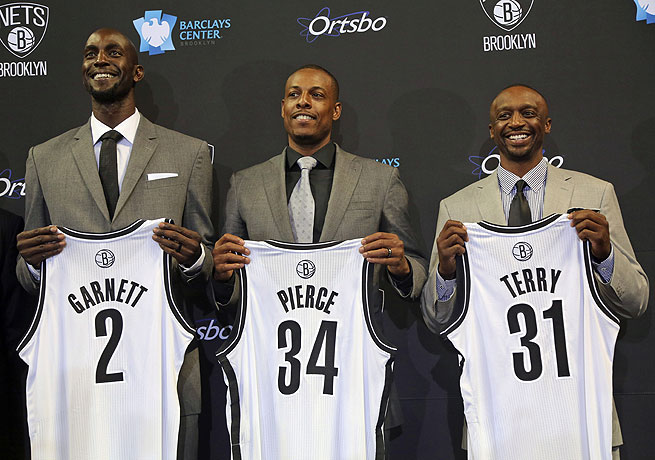 The Nets acquired Kevin Garnett, Paul Pierce and Jason Terry from Boston via a trade earlier in July.