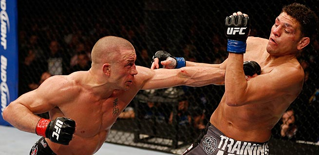 Georges St. Pierre (left) defeated Nick Diaz in his most recent bout but could lose to Johny Hendricks.
