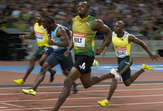 Usain Bolt ran a 9.85 on Friday night in London to win the 100 meters at a Diamond League meet.