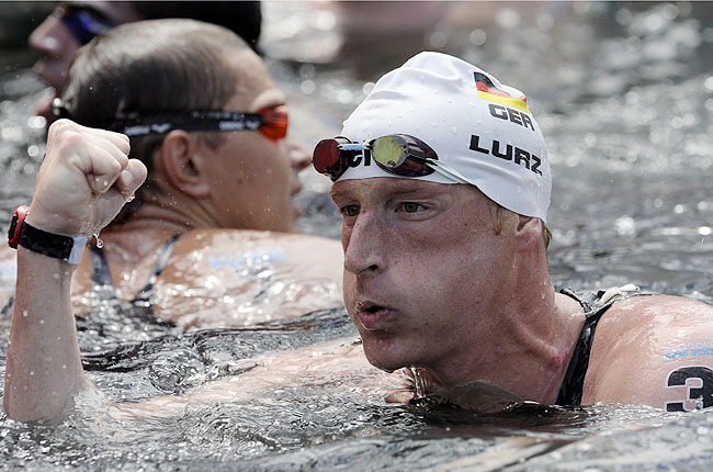 Lurz, a 33-year-old German, completed a career sweep of the world open water events with his win.