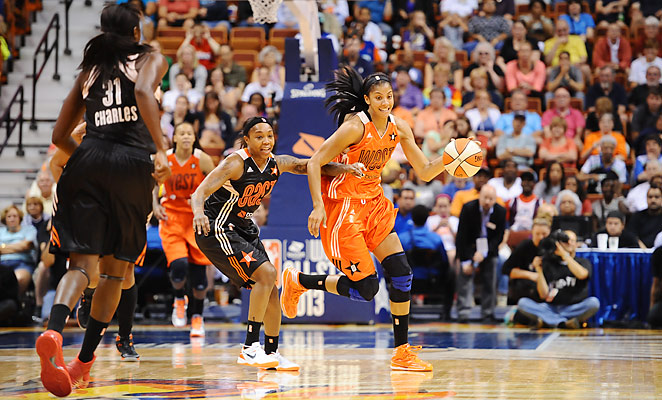 Candace Parker scored 23 points and captured MVP honors in the WNBA All-Star Game.