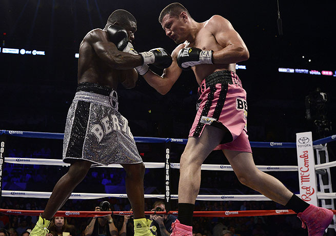 Jesus Soto Karass (right) overcame Andre Berto via a technical knockout in the 12th round.