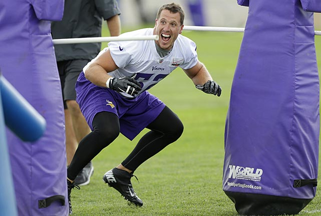 Minnesota Vikings linebacker Chad Greenway reacts as he runs a drill in Mankato, Minn.
