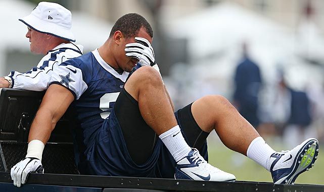 The Dallas Cowboys' depth on the defensive line took a serious hit when Tyrone Crawford tore his left Achilles tendon on the first day of practice. In his rookie year, Crawford made 20 tackles, but he was expected to see more playing time in 2013 as a result of his versatility on the line at either defensive end or tackle.