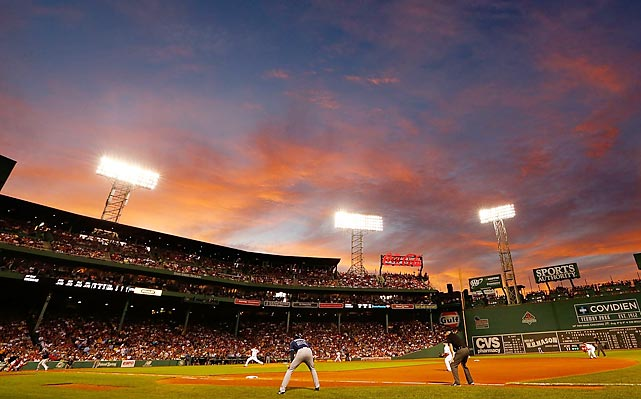 The Boston Red Sox take on the Tampa Bay Rays as the sun sets over Fenway Park on July 24.