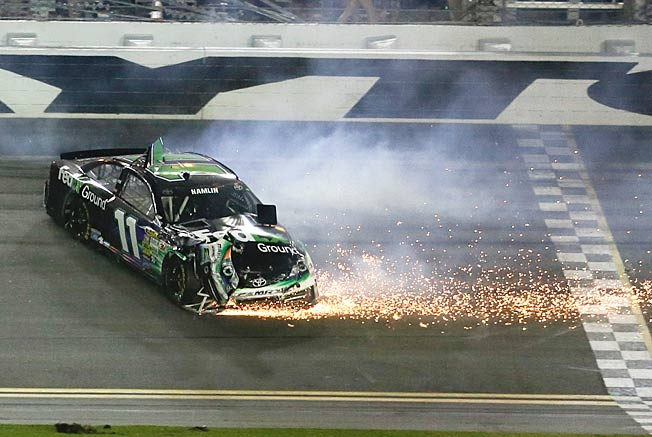 Slip sliding away: Two more crashes haven't helped Denny Hamlin's bad back or his Chase chances.