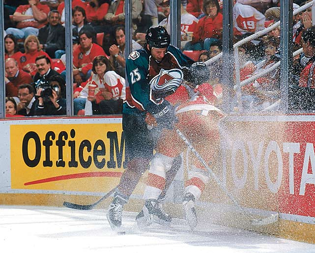Detroit's hopes for a three-peat were fueled by the trade deadline acquisitions of blueliners Chris Chelios and Ulf Samuelsson, forward Wendel Clark and goalie Bill Ranford, a first-place finish in the Central Division, and a sweep of Anaheim in the first round. Then the Red Wings ran out of steam against their bitter rivals, the Colorado Avalanche, who stormed back from a two-games-to-none deficit to win the next four, including three in Detroit. Ranford, who started the series in place of Chris Osgood, was strafed in a 5-3 Colorado win in Game 3 that turned the tide of the series.