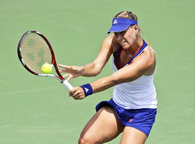Top-seeded Angelique Kerber won her first-round match at the Citi Open in Washington D.C.